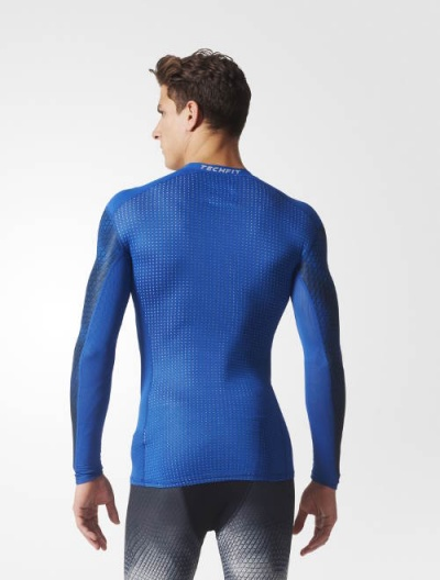 Adidas Techfit Chill Base Layers Long Sleeves Blue Thermal Top Men