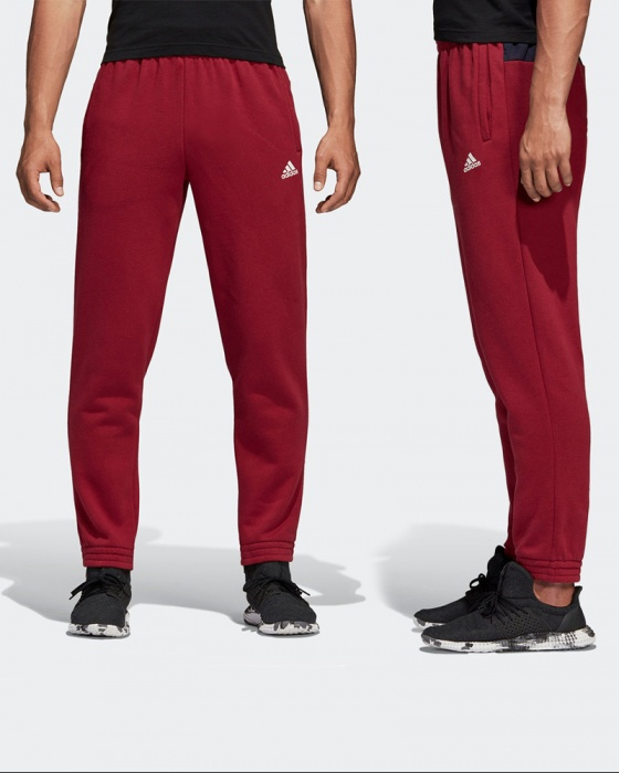 Adidas Track pants Suit 2018 19 Red with pockets Sport ID Pants Fleece Cotton