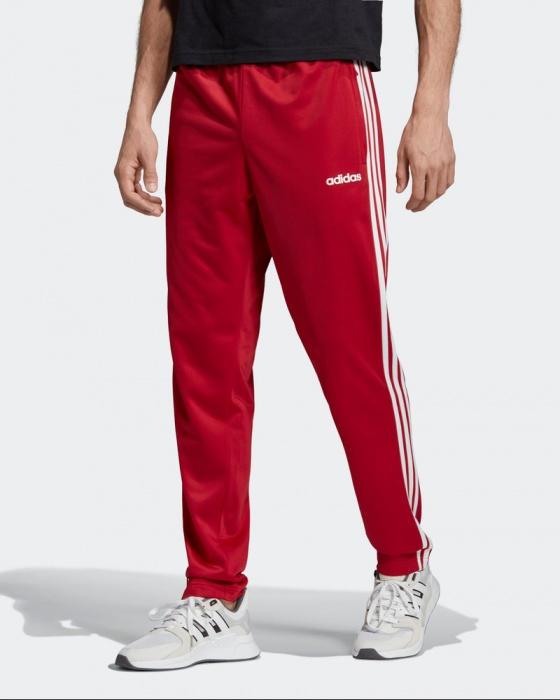Adidas Track Pantalon Pants Hose Essentials 3 Stripes Tapared Rouge Homme | eBay