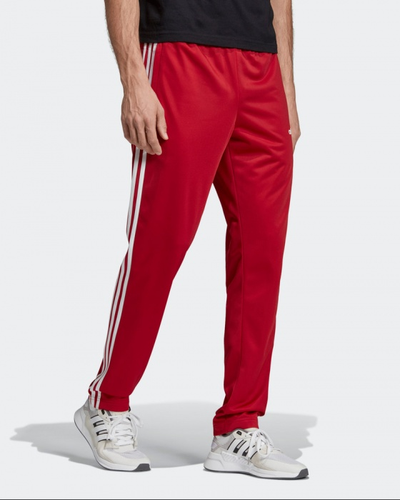 Adidas Track Pantalon Pants Hose Essentials 3 Stripes Tapared Rouge Homme | eBay