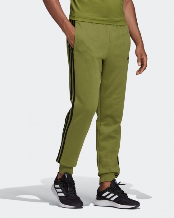 Adidas Pantaloni tuta Pants Verde Essentials 3 Stripes Tapered Fleece Cotone | eBay