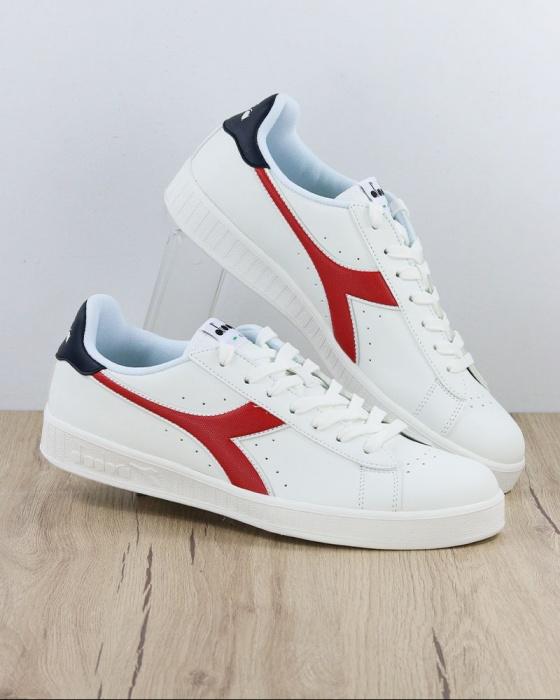 Dettagli su Diadora Scarpe Sportive Sneakers Sportswear GAME P Bianco Blu Rosso Uomo