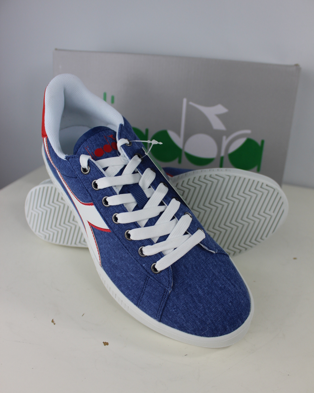 Diadora Scarpe Sneakers Ginnastica Tennis LifeStyle Blu Game Canvas ... 48ef9c80988