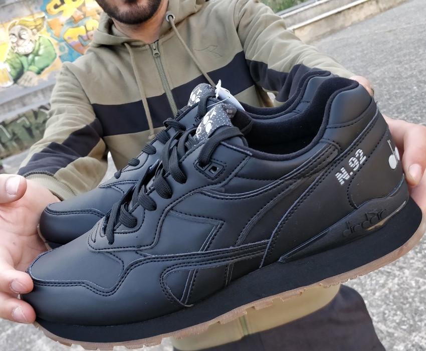 Scarpe Sportive Sneakers Diadora N-92 Leather LifeStyle Sportswear Nero 367332f6c89