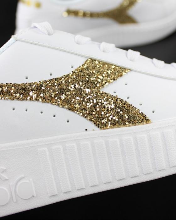 DIADORA Game P Step scarpa sportiva bianco oro glitter