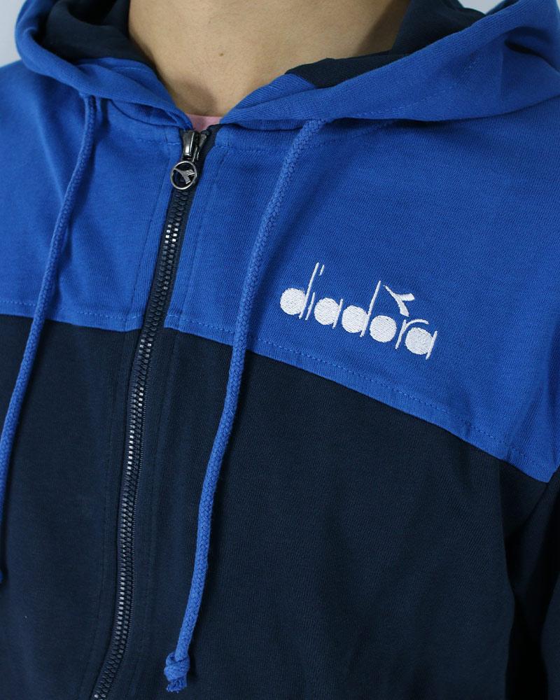 Diadora-Tuta-Sportiva-Tempo-libero-HD-Full-zip-core-Uomo-Blu-Cotone-leggero miniatura 3