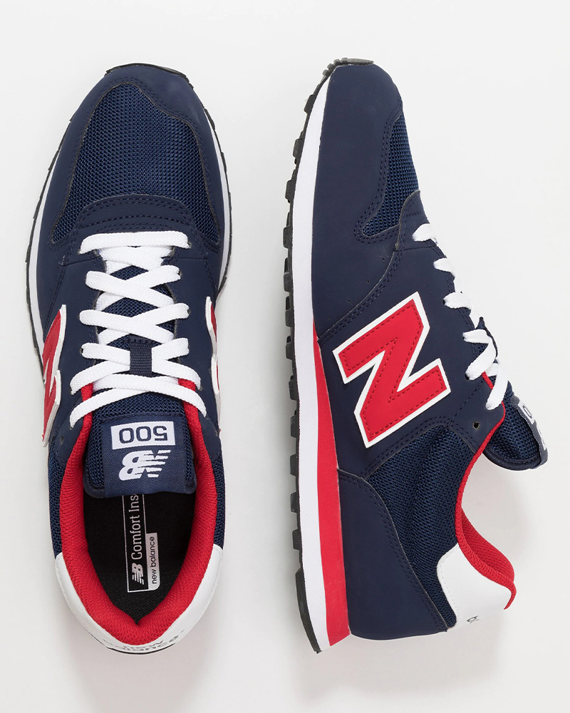 New-Balance-500-Chaussures-sportif-Sport-Shoes-Sneakers-2020-Bleu-rouge miniature 3