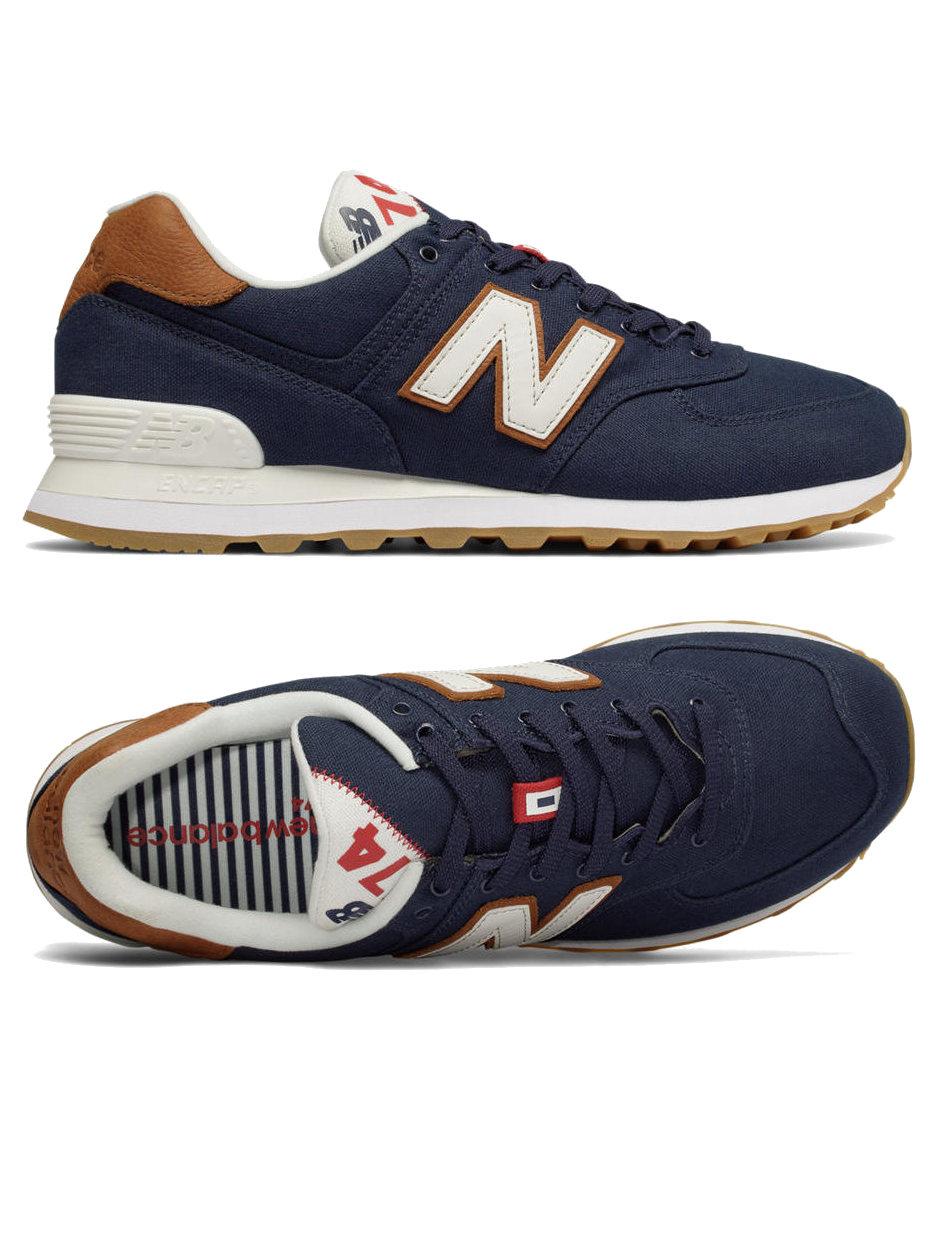 Scarpa da ginnastica uomo blu New Balance 574 Lifestyle sneakers canvas moda