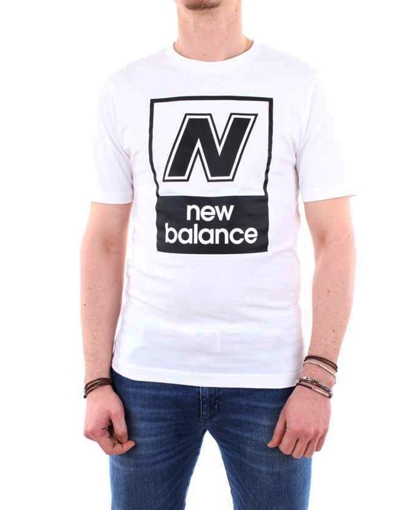 size 40 38cee d568d Dettagli su New Balance Essentials N BOX T maglia maglietta T-shirt Bianco  cotone Uomo