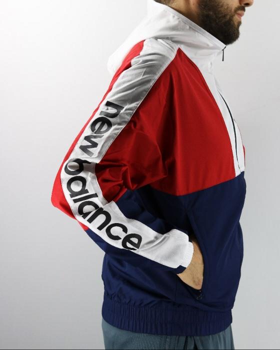Dettagli su New Balance ATHLETICS WINDBREAKER Giacca Sportiva sport jacket Blu 2019 Uomo