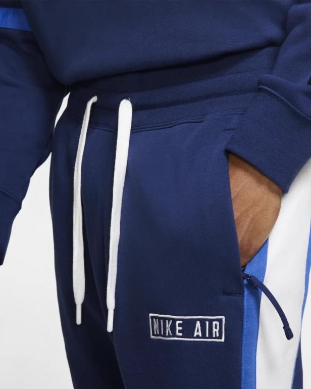 Detalles de Nike Pantaloni tuta Pants Blu con TASCHE a ZIP Cotone Sweat Air Fleece