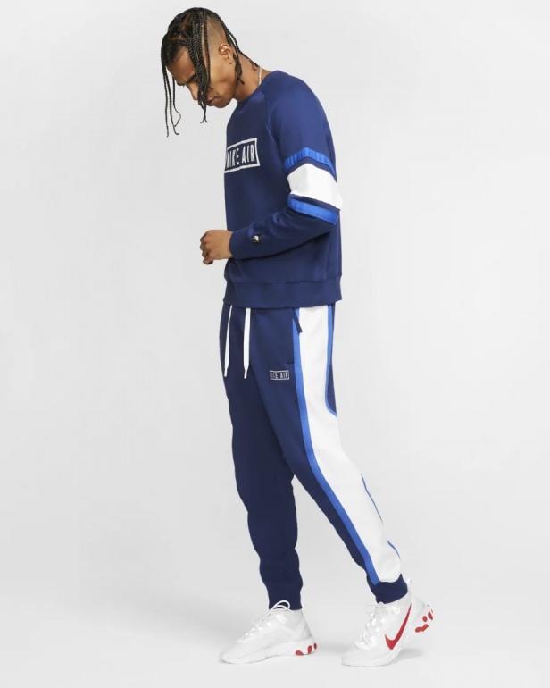 Nike Pantaloni tuta Pants Sweat Air Fleece Blu con TASCHE a ZIP Cotone