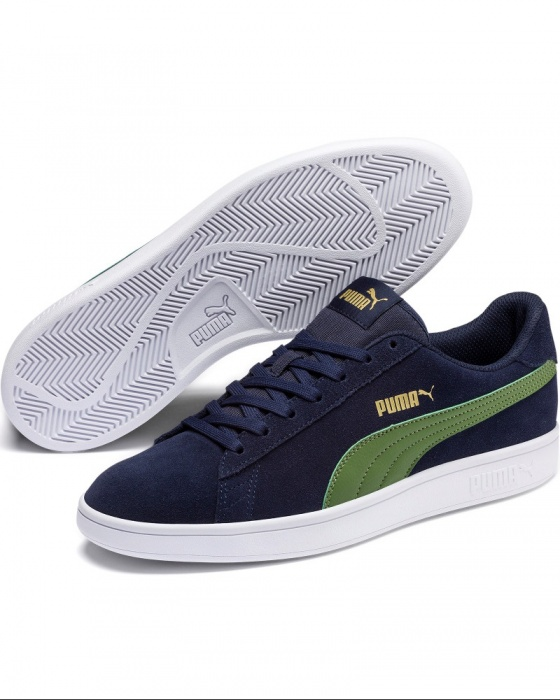 Dettagli su Puma Scarpe Sportive Sneakers Sportswear Blu Verde Smash v2 pelle scamosciata