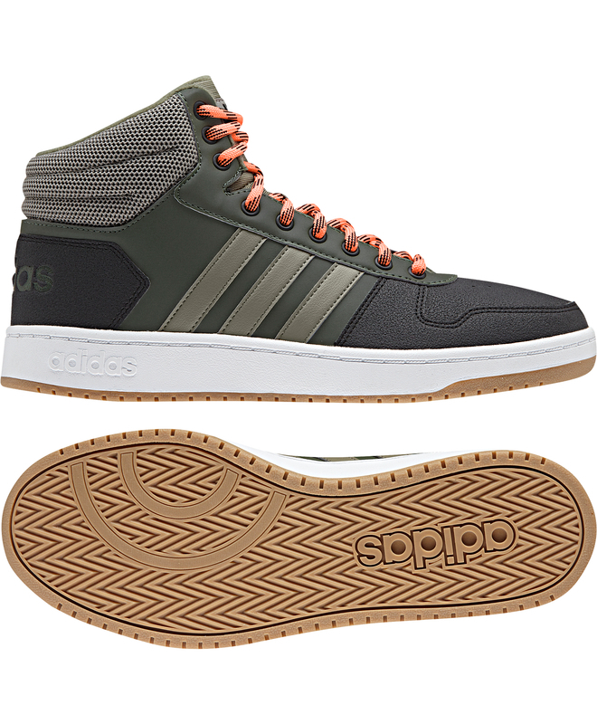 Adidas Chaussures sportif chaussures Sneakers Vert cheville haute HOOPS 2.0 MID