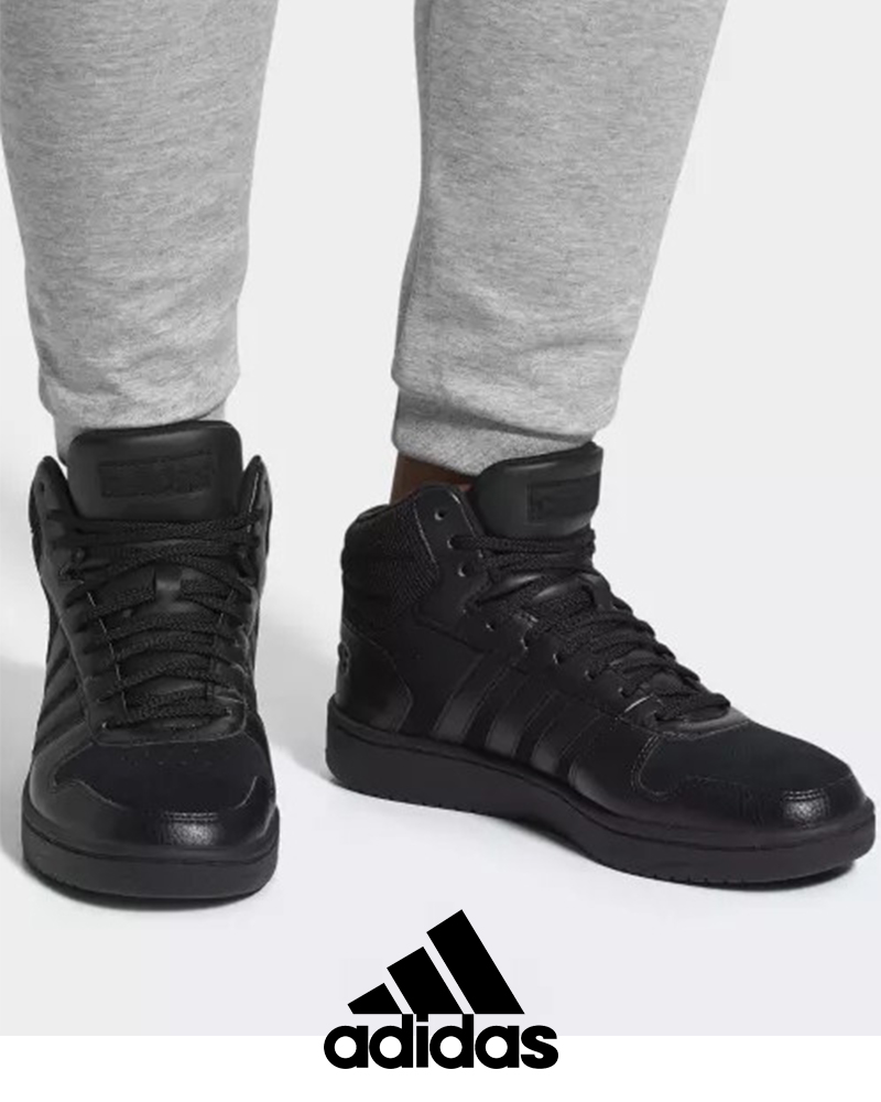 eba2a7e818b Adidas Sneakers Shoes Schuhe Sport HOOPS 2.0 MID Black high ankle