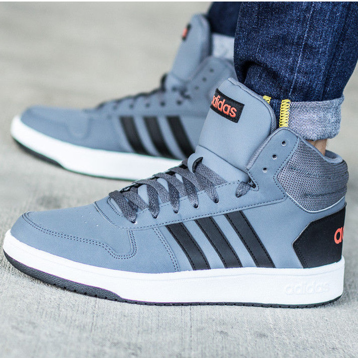 Adidas Shoes Sneakers Sports HOOPS 2.0 MID Grey ankle high  bc2c5e093