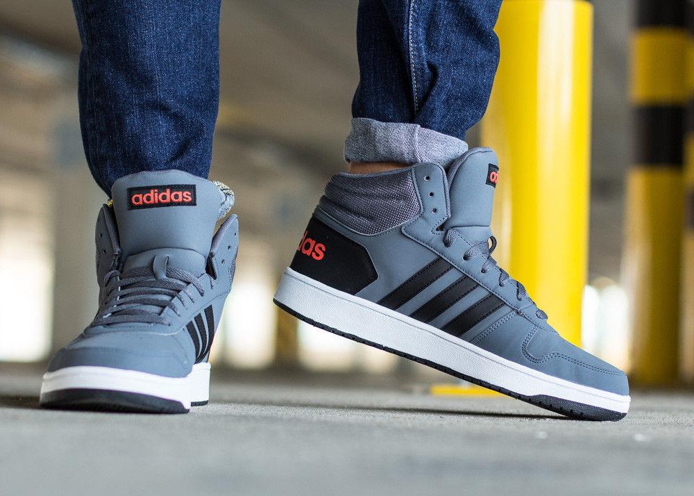 Adidas Sneakers Sportive HOOPS 2.0 MID Grigio caviglia alta