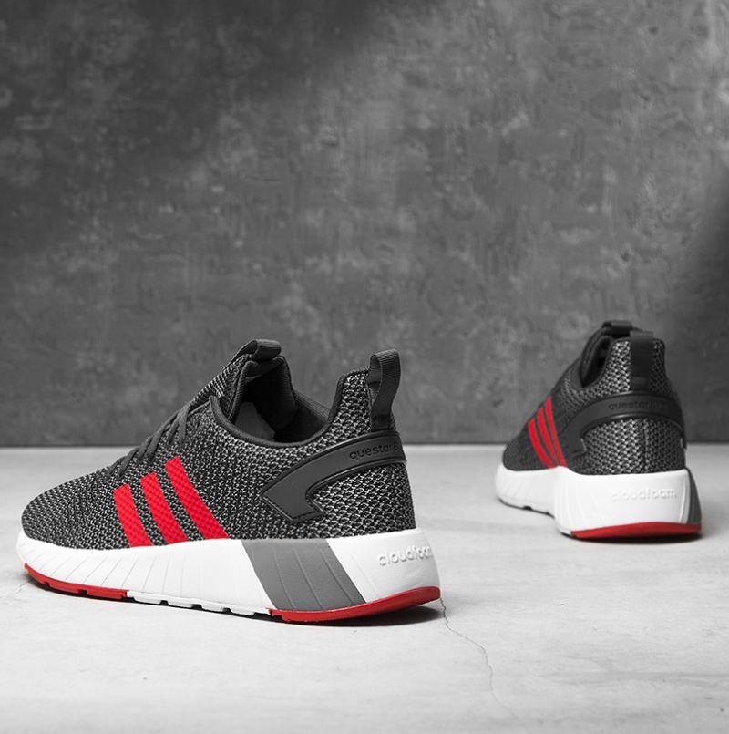 adidas Questar BYD DB1541 Herren Grau Rot Sneaker Turnschuhe