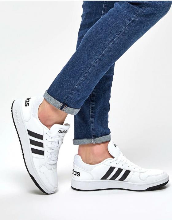 Adidas Sneakers Scarpe Sportive HOOPS 2.0 Bianco Nero Uomo Sportswear | eBay