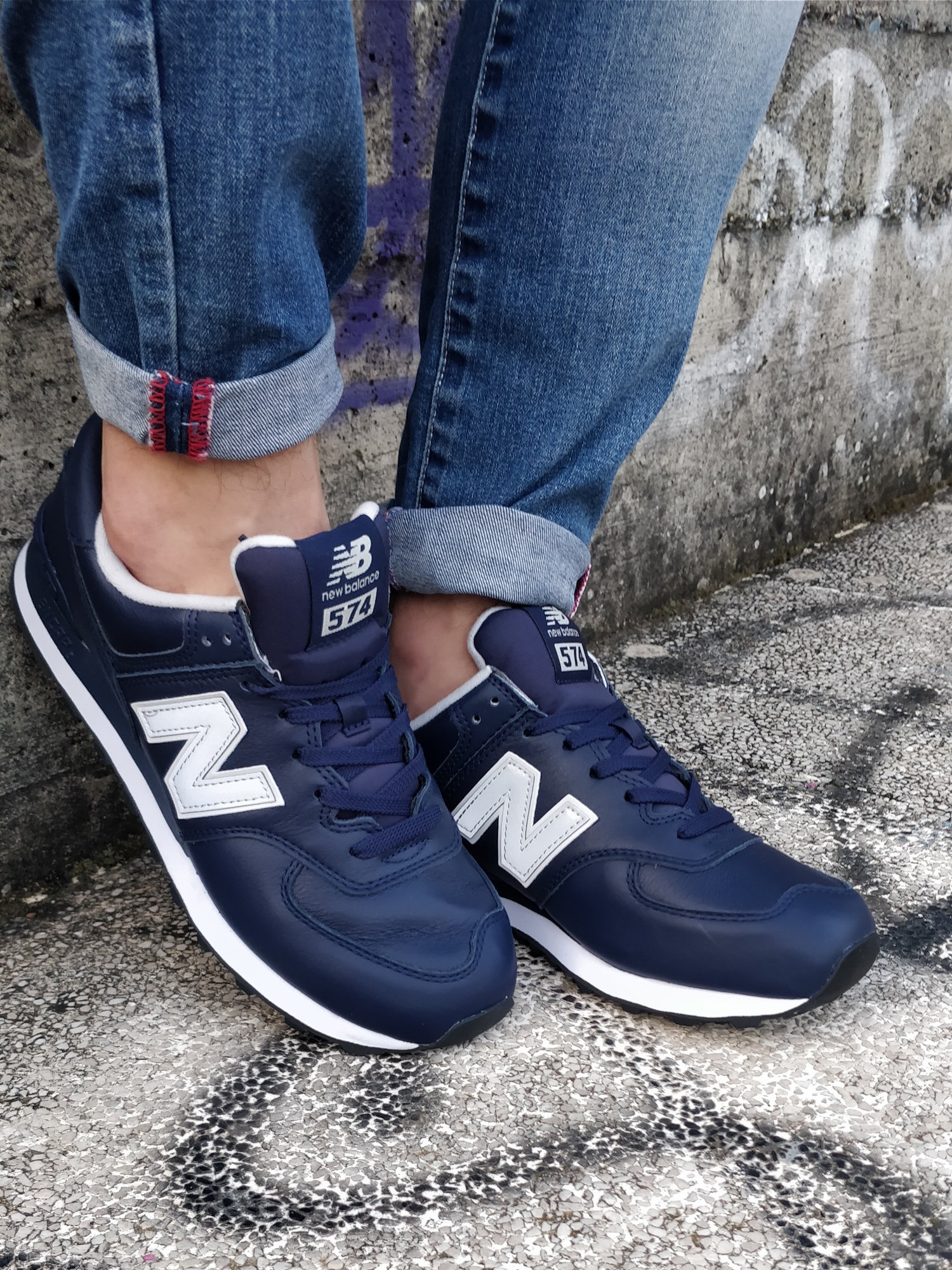 4c8aceff4d4 New Balance ML 574 lea Sneakers Shoes Sport Lifestyle Navy Real ...