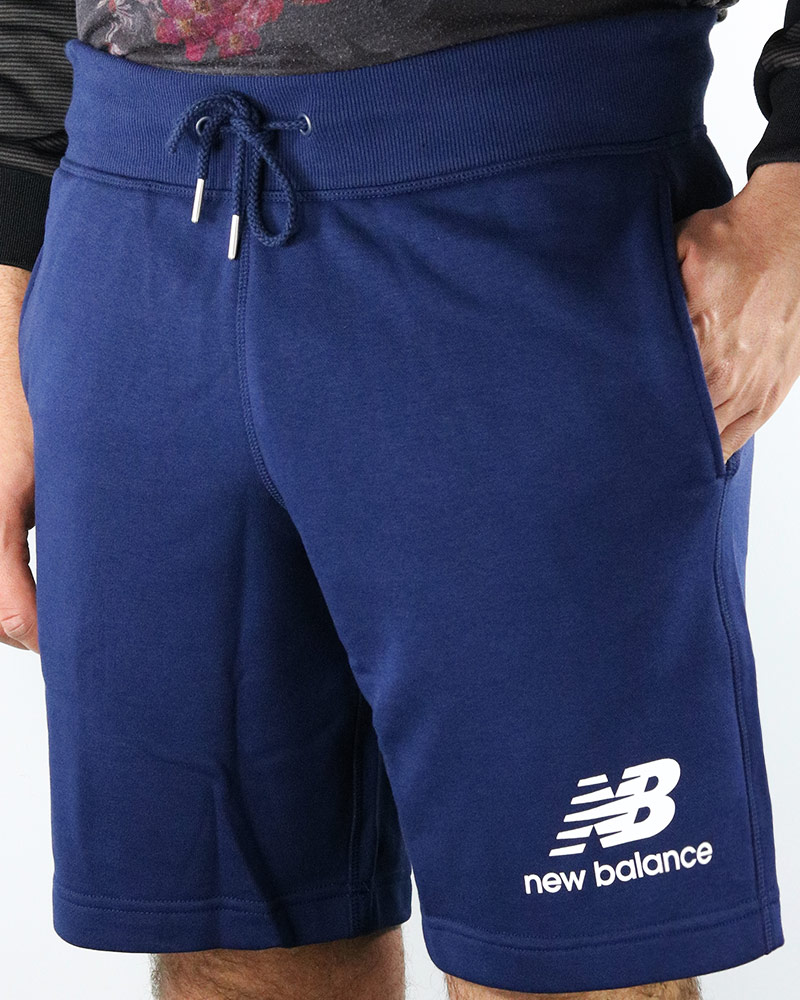 100% Wahr New Balance Pantaloncini Shorts Hose Blau Baumwolle Essentials Stacked Logo