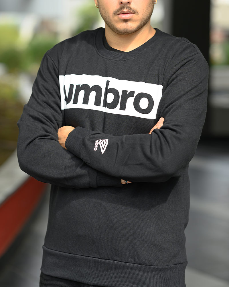 Umbro-Felpa-Sportiva-Nero-2019-20-Sweat-Crew-Big-Logo-Cotone
