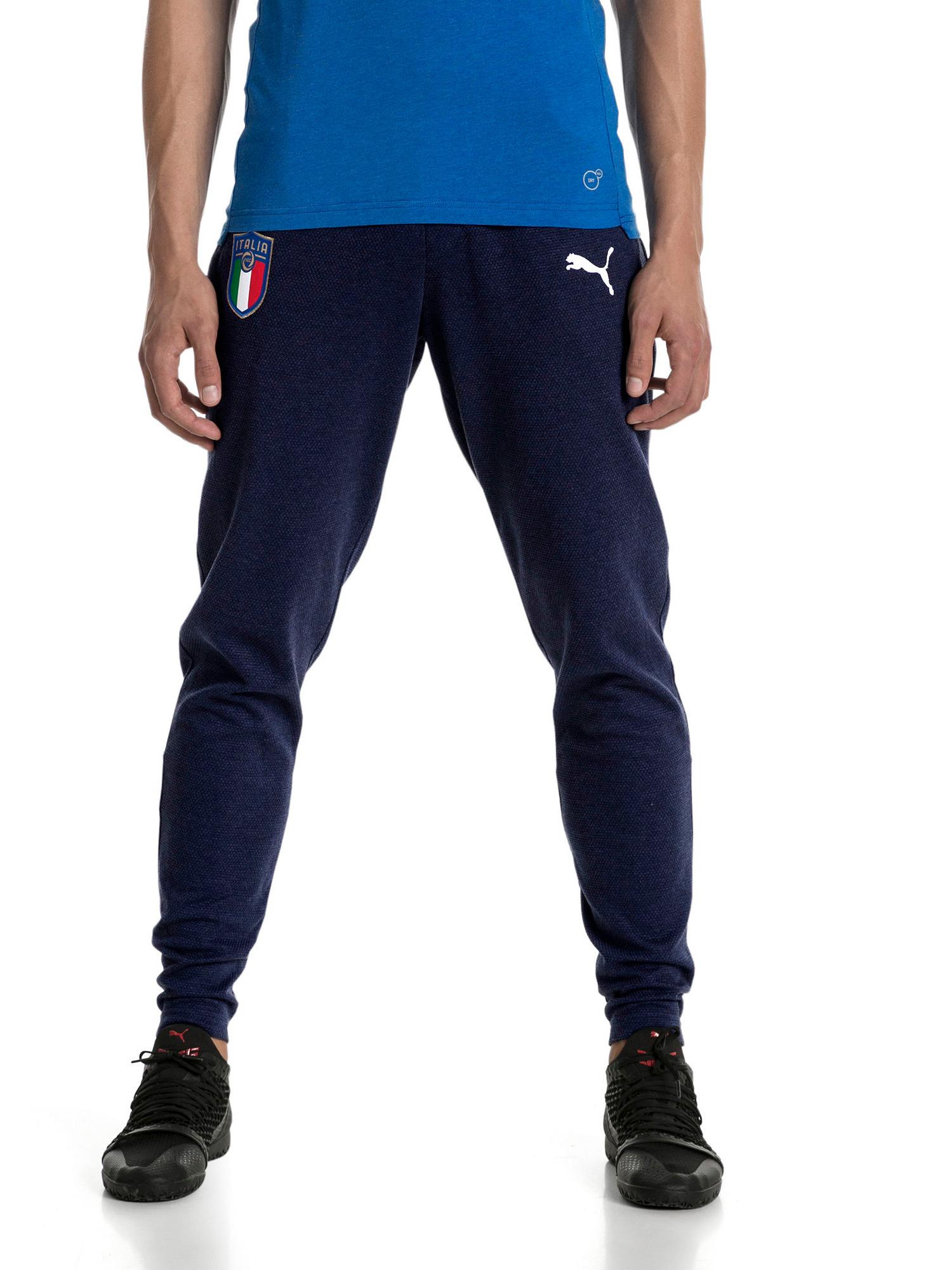 d508a9494cbb9 Italia FIGC Puma Pantaloni tuta Pants Cotone Casual Performance Sweat 2018  Blu