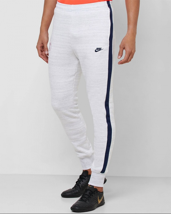Dettagli su PSG Nike Pantaloni tuta Pants cotone Fleece Sweat Cuff Bianco