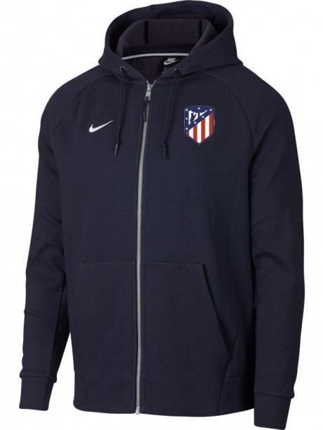 9250b2378ba0b7 Giacca Sportiva Cappuccio Atletico Madrid Nike Full zip Sportswear Uomo BLU  2018 19 cotone - Hooded ...