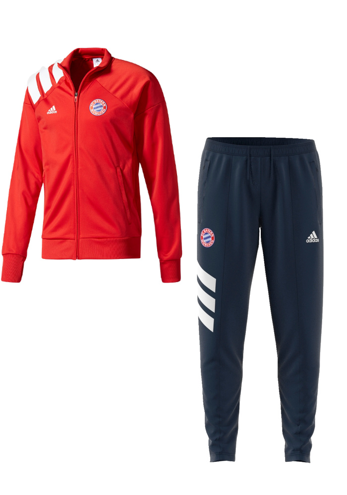 Bayern-Monaco-Adidas-Tuta-Sportiva-tracksuit-Uomo-Rosso-retro-vintage-2017-18
