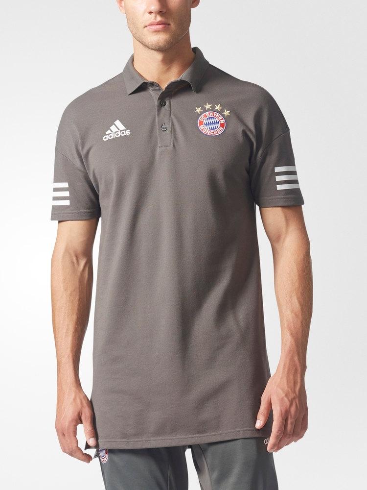 Bayern-Munchen-Adidas-Uefa-UCL-Polo-Maillot-Shirt-Gris-2017-18-coton
