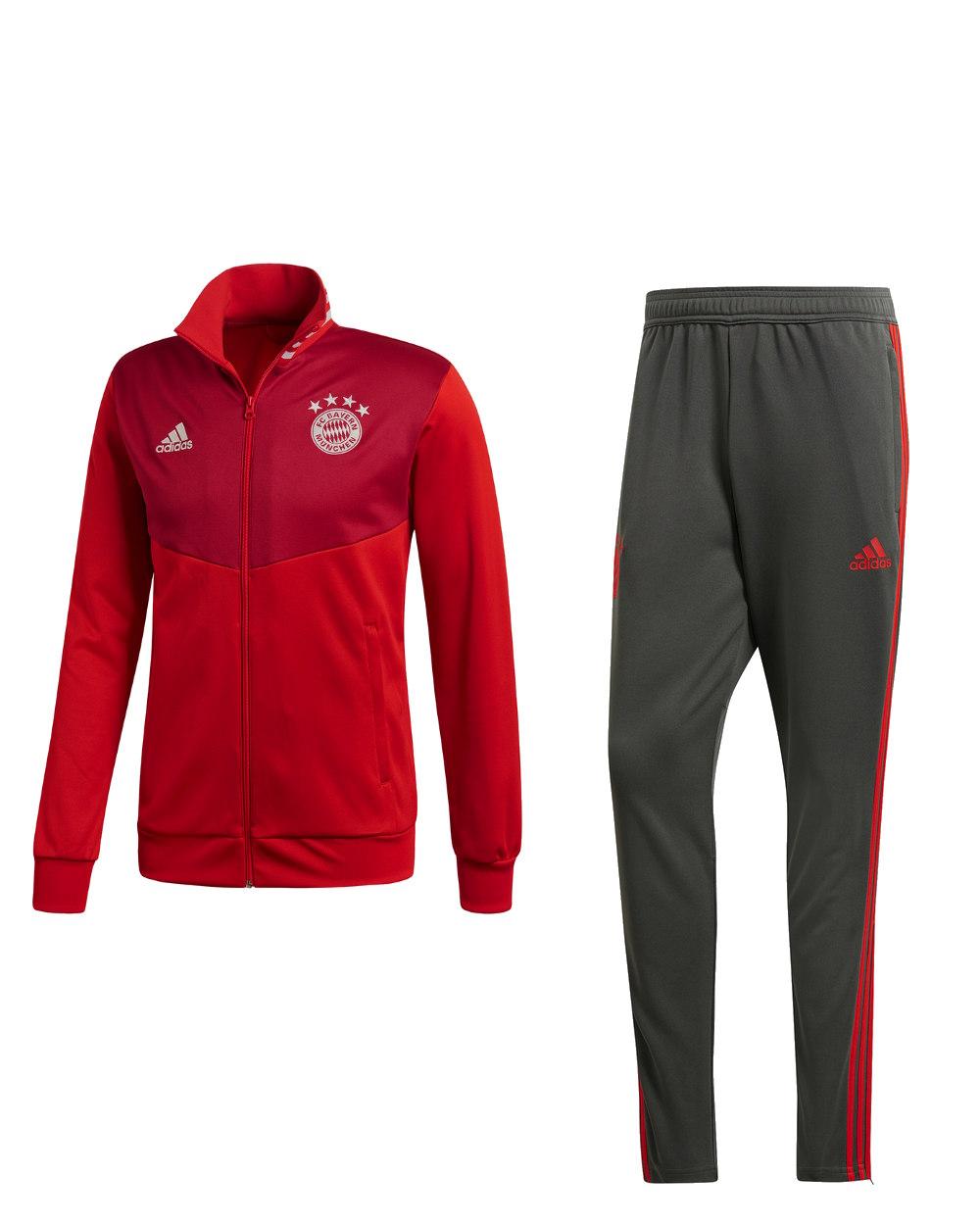 Bayern Monaco Adidas Tuta Sportiva Sport Tracksuit 2018 19 UOMO Rosso 4 4  di 10 ... ba6ab112d600