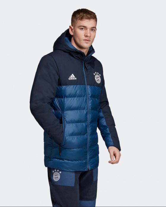 Detalles de Bayern Monaco Adidas Bomber Abajo Chaquetón De Hombre Blau SSP acolchado 2019 20