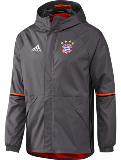 Giacca Allenamento pioggia Vento K way Bayern Grigio Originale adidas Uomo 2016 17 Rain