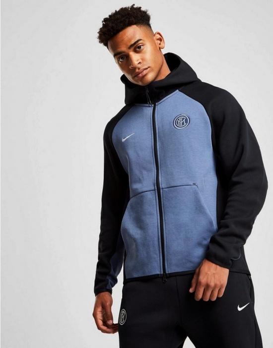 Details about FC Inter Milan Nike Sport Jacket 2018 19 Sportswear Tech Fleece Black Cotton