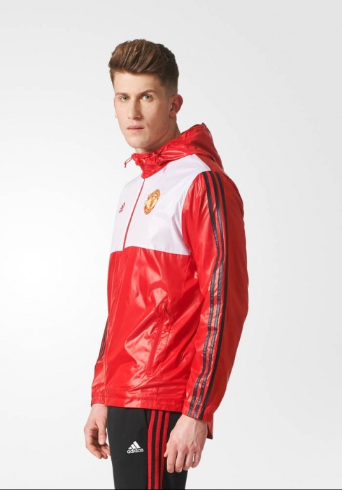 Details about Manchester United Adidas Windbreaker rain jacket Red zip pockets 2017 18 Men