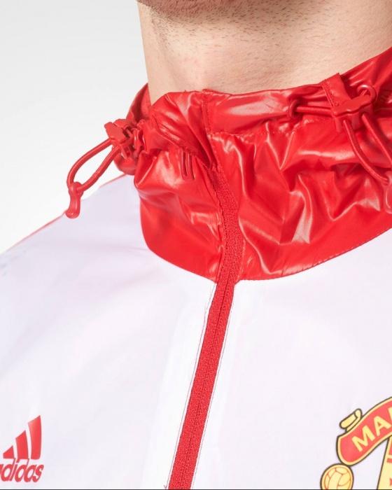 Manchester United Adidas giacca vento pioggia k way Rosso tasche a zip 2017 18 | eBay