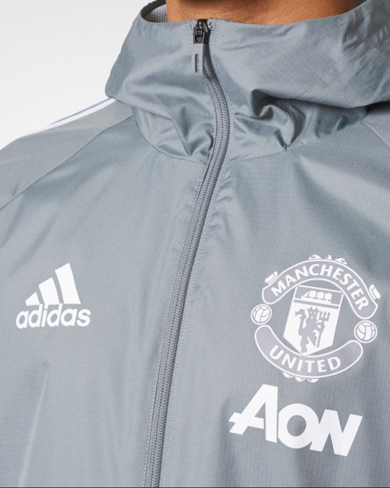 ... Giacca pioggia Vento Manchester United K-Way All weather Originale Adidas  2017 18 Grigio ...