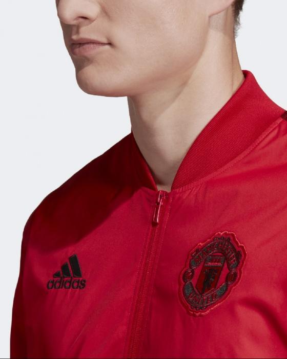 Détails sur Manchester United Adidas Veste Pre Match 2019 20 Anthem Rouge poches zippées
