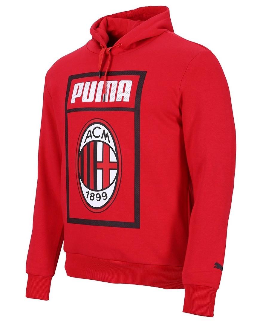 09edddf892d24 Ac Milan Puma Felpa Cappuccio Hoodie Big Logo 2018 19 Rosso Cotone ...