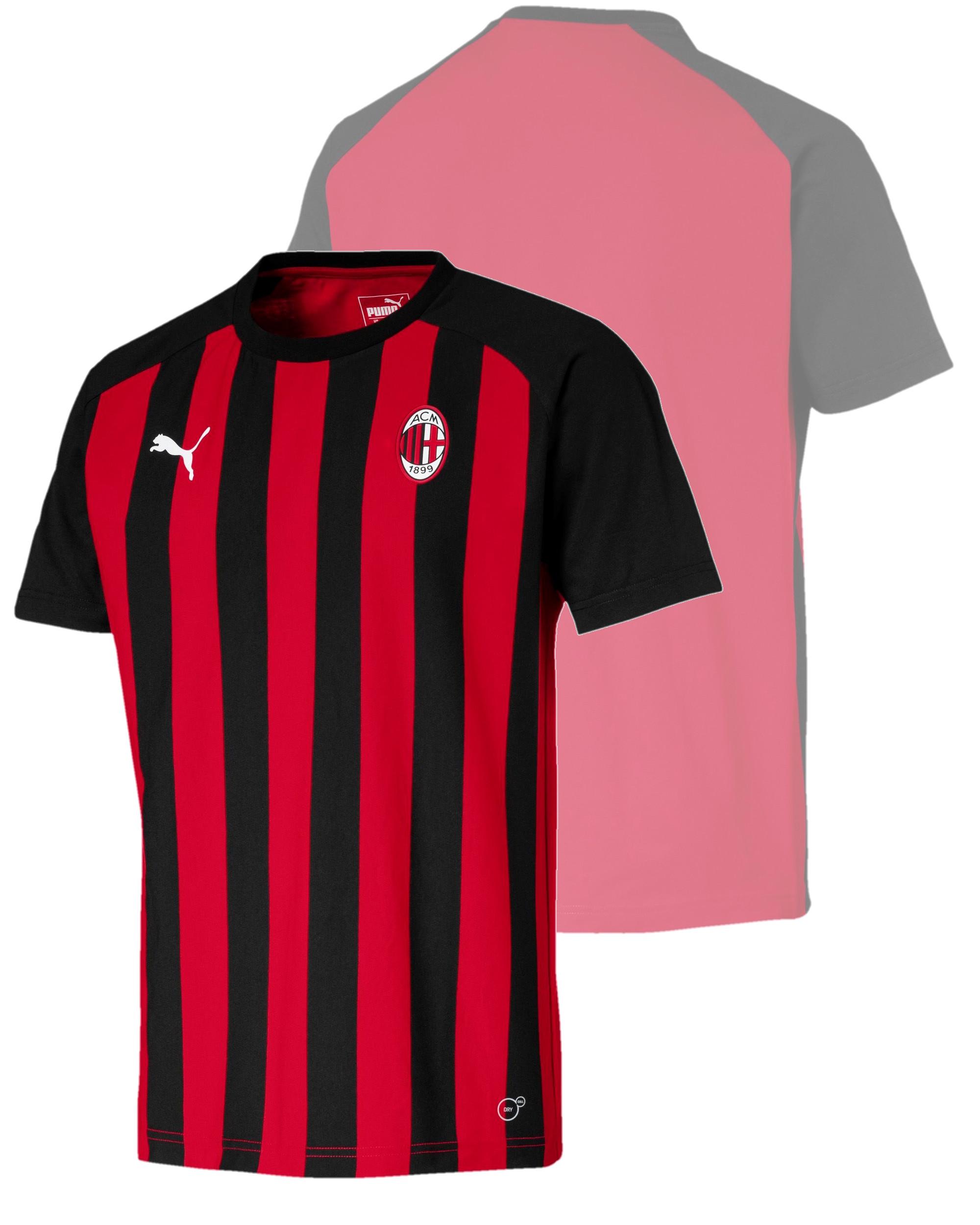 552517603346d Ac Milan Puma T-shirt tempo libero fan supporters 2018 19 Rosso Nero ...