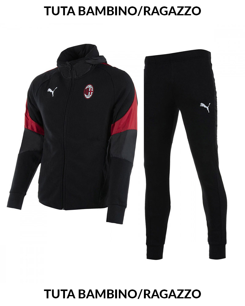 08f451c38d4d Ac Milan Puma Leisure Tracksuit Hoodie 2018 19 Boy Black Cotton