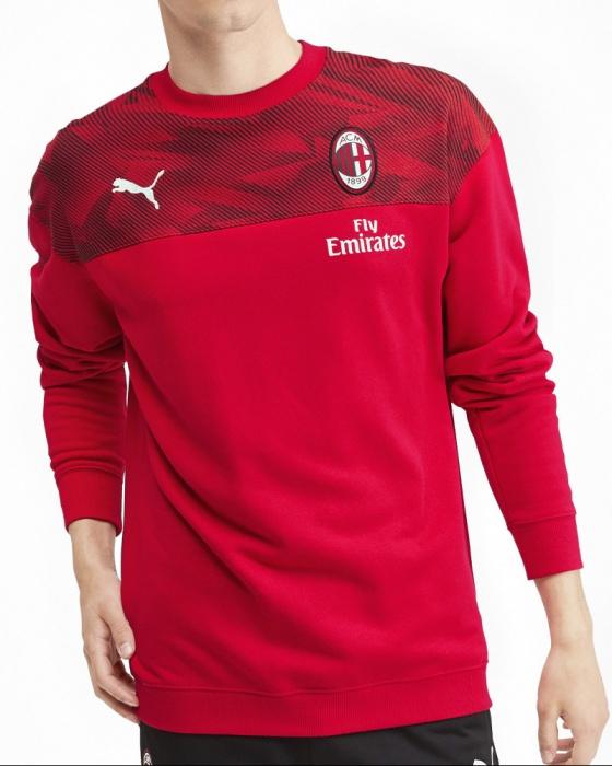Détails sur Ac Milan Puma Sport Sweatshirt Felpa Rouge Casual Sweat Crew 2019 20 coton