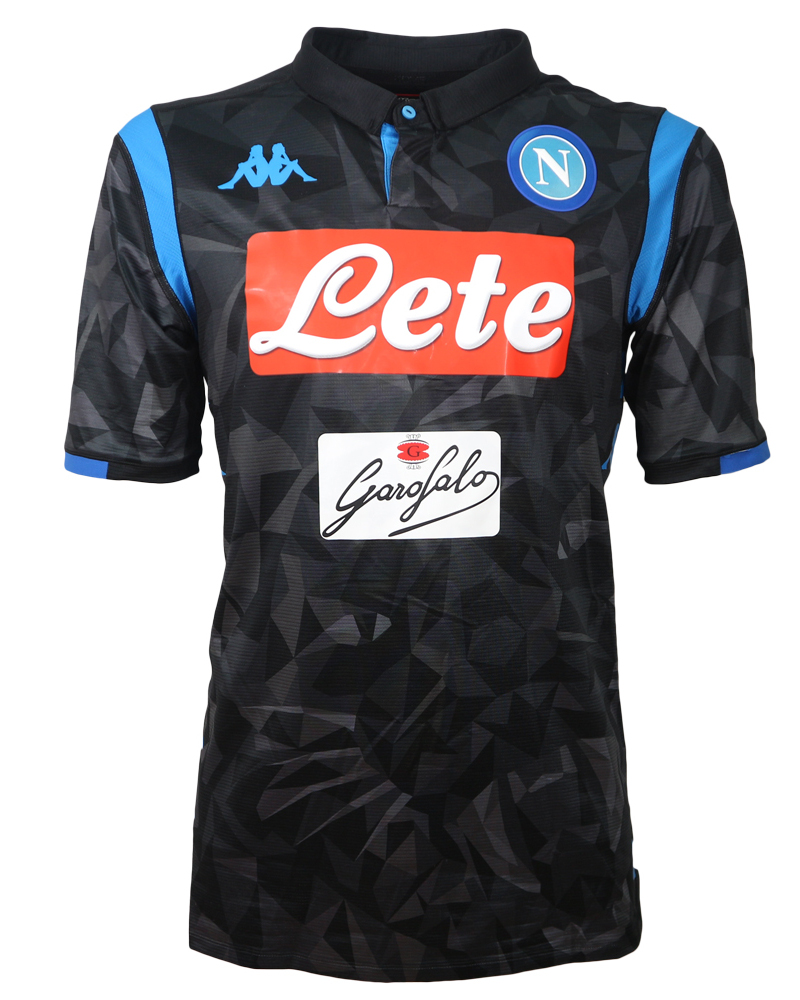 SSC Napoli Naples Kappa Kombat player issue Match Jersey Shirt Black ... e72b882f5d85d