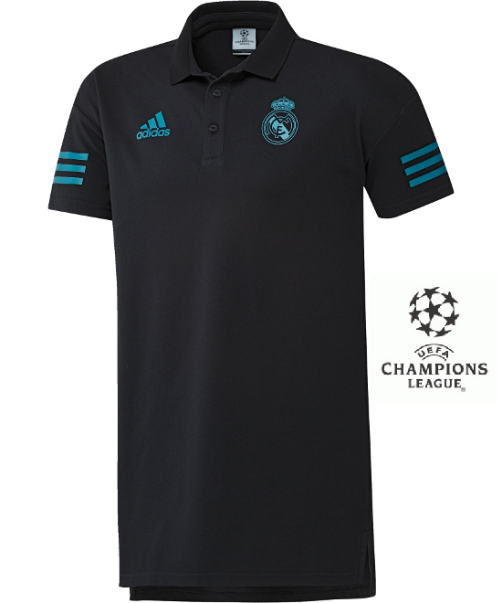 6441049a3 Real Madrid Adidas Polo Shirt Uefa Men Black 2017 18 cotton