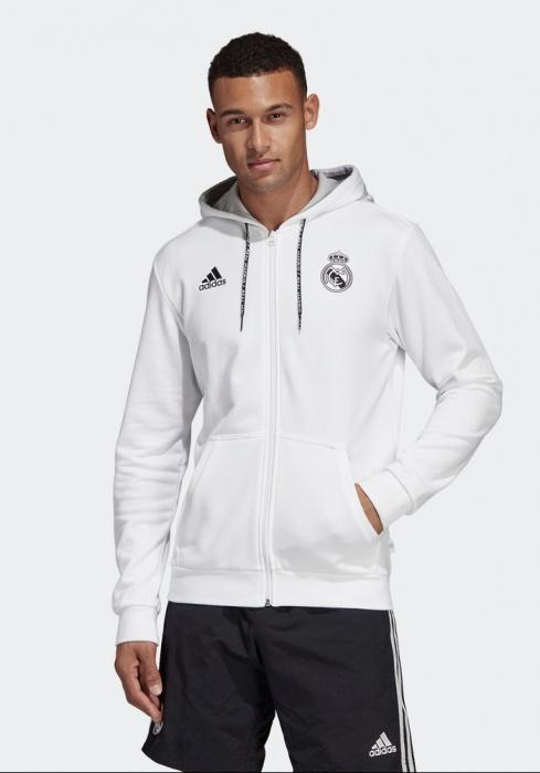 Details zu Real Madrid Adidas Jacke Sport Jacket Sweatshirt weiß Baumwolle Hoodie 3S FZ
