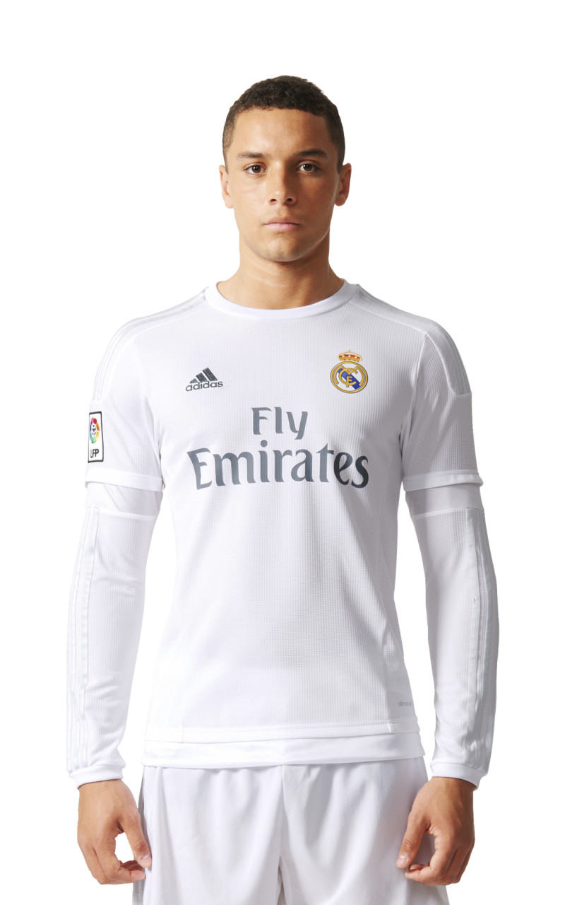 Real-Madrid-Adidas-Maillot-de-football-shirt-Homme-Blanc-L-S-2015-16-Home