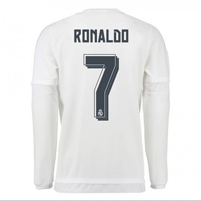 5d61c89d2 Maglia calcio Real Madrid Adidas Uomo 2015 16 Bianco home maniche lunghe  Originale - Football Jersey ...