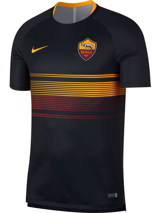 83e69789a As Roma Nike Training Shirt Top Black 2018 19 pre match Dry Squad