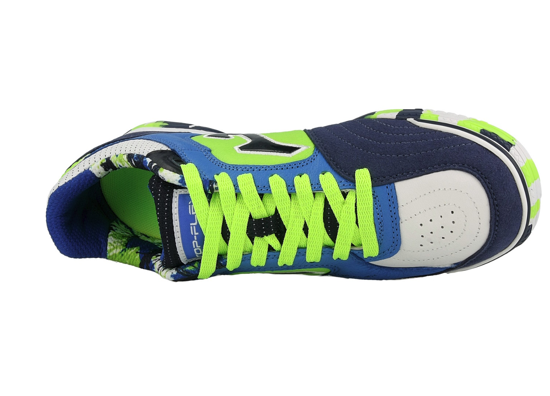Football-shoes-Joma-Scarpe-Calcio-Top-Flex-805-Blu-Fluo-Indoor-2018-Vera-pelle